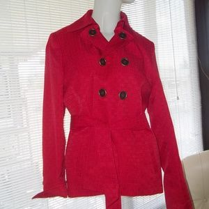 Mary Kay by Twinhill Red Fall Trench Jacket Sz M
